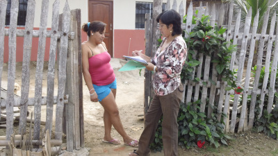 Marcia, the Treasurer of Las Mercedes, completing a survey