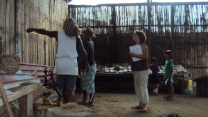 Lupin, Alfonso & Maryanne (left to right) going over building plans