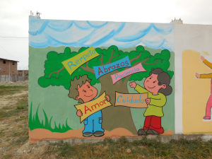 The newest mural of the Las Mercedes Health Center enclosure